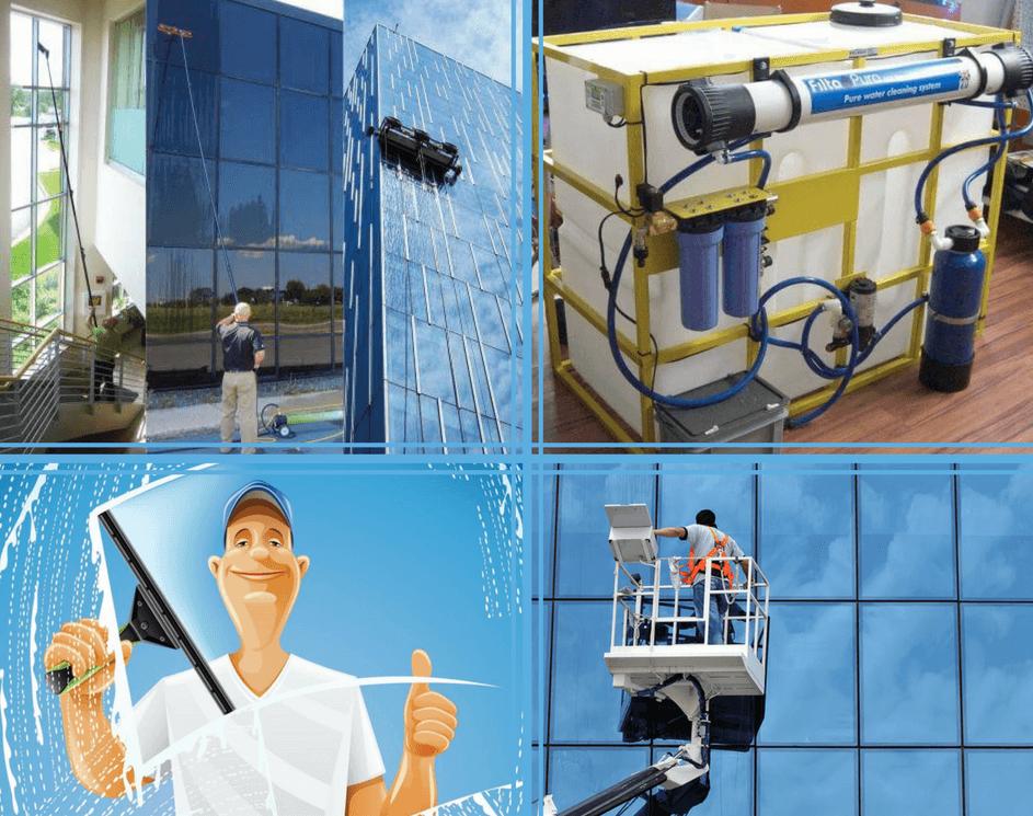 telescopische glasbewassing met osmose water